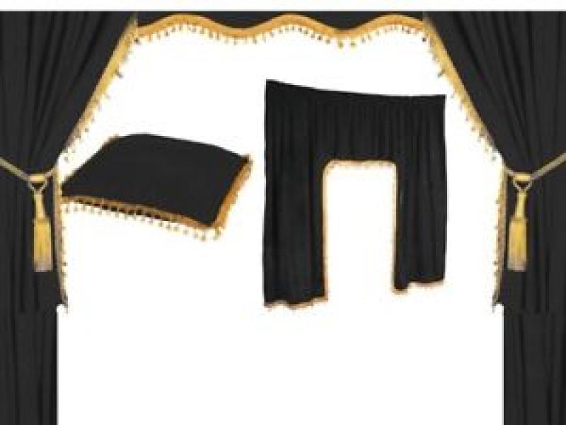 cabine gordijnenset truck 9 delig luxe zwart goud uitverkoop truckgadgetsnl